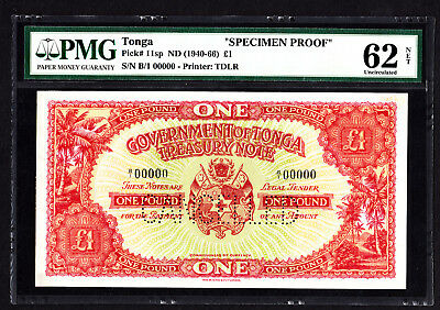 Tonga 1 Pound SPECIMEN Proof Note 1941-66 P. 11 /11sp PMG 62 UNC NET RARE