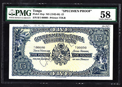 Tonga 5 Pounds SPECIMEN Proof Note ND 1954 P. 12 /12sp PMG 58 Ch. AU SCARCE
