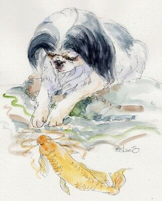 JAPANESE CHIN Original Watercolor on Ink Print Matted 11x14 Ready to Frame