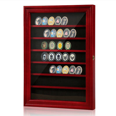 Challenge Coin Display Case Cabinet Rack Holder with Door,Lock,Wall Mounted