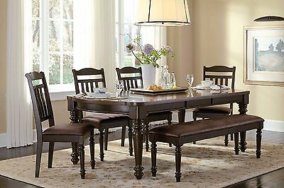 Stupendous Country Style Espresso Dining Table Chairs Bench Dining Ibusinesslaw Wood Chair Design Ideas Ibusinesslaworg