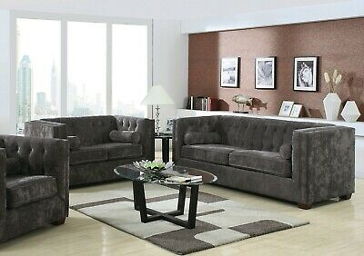 SLEEK CHARCOAL GRAY Grey Chenille Tufted Sofa Couch Living Room Furniture