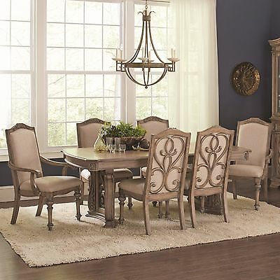 Exquisite Antique Linen Formal Dining Table & Chairs Dining Room Furniture Set
