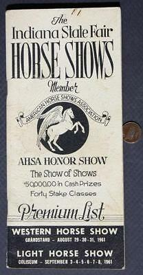 1961 Indiana State Fair Horse Shows Program-AHSA Honor Show-Western & Light-COOL