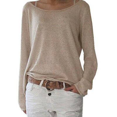US Womens Casual Long Sleeve Pullover Ladies Sweater Jumper Tops Blouse T-shirts