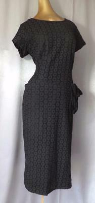 BLACK EYELET LACE 40s 50s Vintage WWII PARTY COCKTAIL SWING DRESS - XL