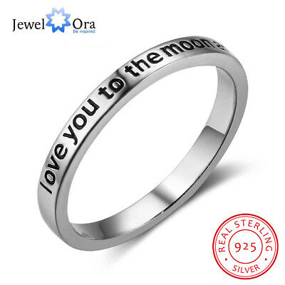 US Shipping 925 Solid Silver Ring Antique Promise Rings Love You Gifts For Her