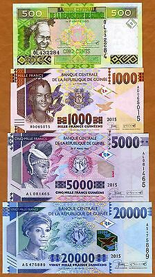 SET Guinea, 500;1000;5000;20000 francs, 2015, Pick New, UNC > Redesigned