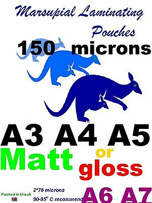 MATT ~ GLOSS A3 A4 A5 A6 A7 Laminating pouches :pick how thick: 80 to 350micron