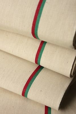 Vintage French unused linen cotton Christmas fabric red green stripes material