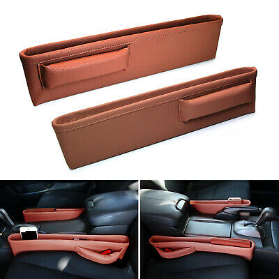 Brown Leather Car Side Pocket Organizers, Seat Catchers For Key Wallet Phone etc