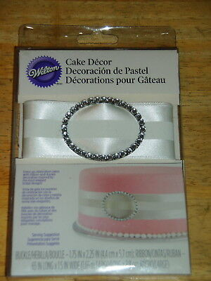 Wilton Cake Decor ~ Cake Buckle White Ribbon ~ New!