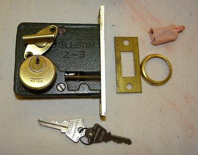 Welch Brothers Mortise Cylinder Door Lock Set Brass w/Keys Vtg Antique