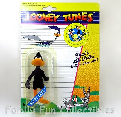 LOONEY TUNES~1989 Lucky Bell Figure~Daffy Duck~Flocked Cartoon Character Toy~MOC