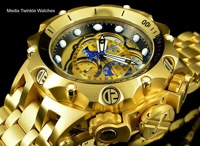 Invicta Reserve 52mm Venom Hybrid Master Calendar 18k Gold Plated Bracelet Watch
