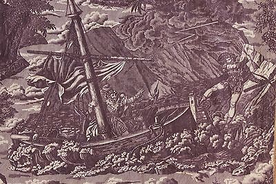 Antique French Toile William Tell  ~ fabric material ~ historical ~c1815 purple