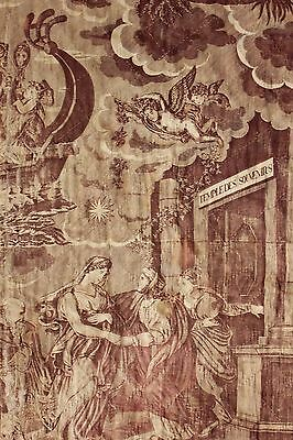 Antique French toile de Normandy c 1820 Le temple des souvenirs fabric de Jouy