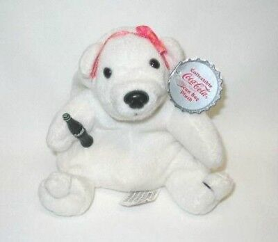 Coca Cola Plush Polar Bear in Pink Bow 0110 Beanie New With Tag