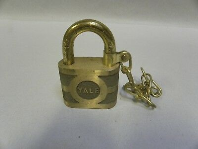 Vintage Solid Brass Yale Super Pin Tumbler Lock Padlock (A8)