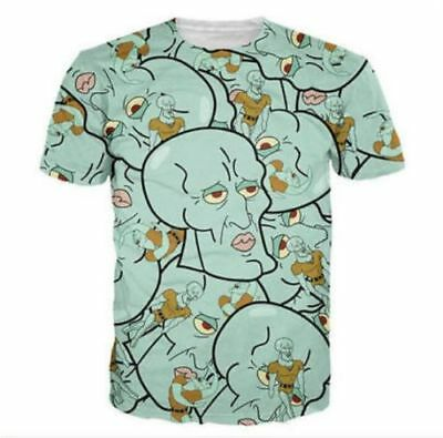 Handsome Squidward Mens Casual Funny 3D Print Short Sleeve Graphic Tee T-Shirt J