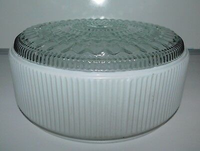 Vintage Round White Frosted Clear Glass Ceiling Mount Light Lamp Shade Ribbed