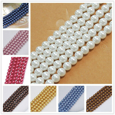 "8mm 10mm 12mm 10 Colors South Sea Shell Pearl Loose Beads Gemstones 15"" AAA"