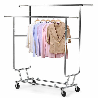 150LBS Heavy Duty Commercial Clothing Garment Rolling Collapsible Rack Chrome