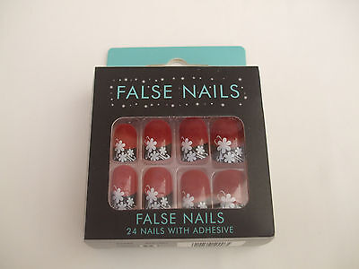 24 False Nails Red With Black Base & White Flower Design Comes With Adhesive New