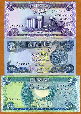 SET, Iraq, 50;250;500 Dinars, 2003-2004, Picks 90-91-92, UNC > first post-Saddam