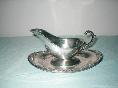 Silverplate Gravy Boat With Plate Newport By Gorham Pre Owned Used