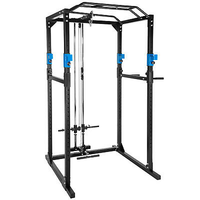 Kraftstation Fitnessstation Power Rack Power Cage Klimm Latzug Dip blau-schwarz