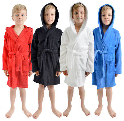 Boys 100% Cotton Towelling Dressing Gown Hooded Bath Robe Xmas Gift Kids Size
