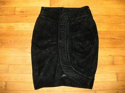 EMPORIO ARMANI sz 4 unique black etched velvet fitted skirt w/gathered front