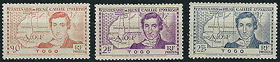 Togo - 100. Anniversary of the death of René Caillie Set mint 1939 Mi. 115-117