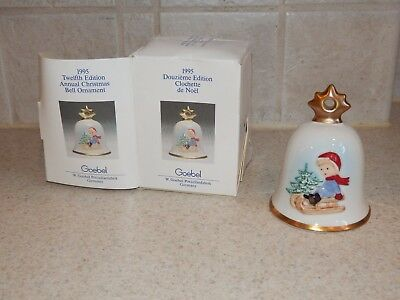 Goebel China Annual Christmas Bell Ornament With Box 1995