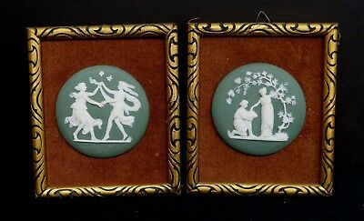 Sweet Pair of Small Framed Antique Green & White German Jasperware Plaques