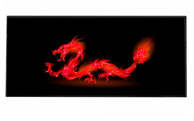 Silent Monsters Gaming und Office Mauspad XXL (90 x 40 cm), Design: Red Dragon