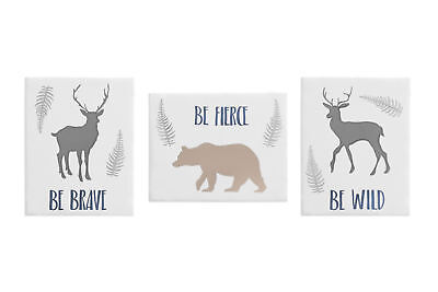 Grey Woodland Deer Bear Wall Art Room Decor Hanging Baby Nursery Kids Children