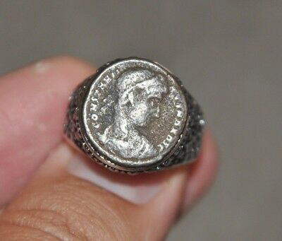 Constantine The Great House Roman Imperial Authentic Coin Silver Tone Ring Sz 10