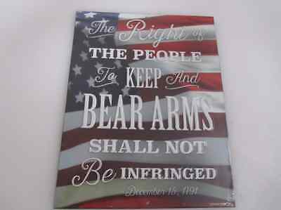 THE RIGHT TO KEEP & BEAR ARMS USA FLAG Tin Metal Sign Retro Vintage 3D AMERICAN