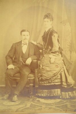 Antique Late 1800s Cabinet Style Photograph Man & Wife Beautiful Victorian Dress