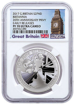2017 Britain 1 oz Proof Silver Britannia Trident NGC PF70 UC ER Big Ben SKU49166
