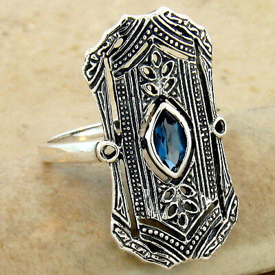 Art Deco Genuine London Blue Topaz 925 Sterling Silver Antique Style Ring, #1083