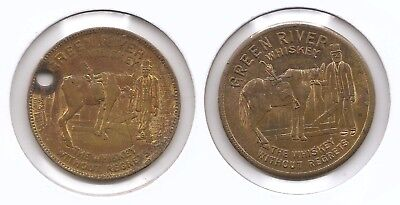 Lot of 2 Different Magician Magic Good Luck Token Green River Whiskey MT147