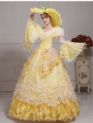 Victorian Medieval Renaissance Costume Dress Fancy Lace Theater Ball Gown Yellow