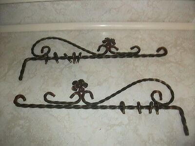 Vintage Antique Swing Arm Curtain Rod Drapery Drapes Ornate Twisted Wrought Iron