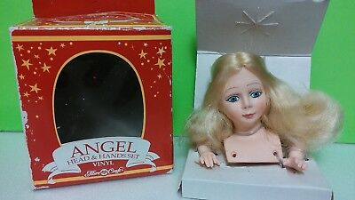 ~ANGEL~Vinyl Porcelain Head & Hands~Vintage Doll Tree Top Making Parts~3 1/2""