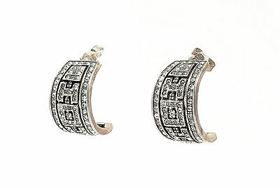 Silver 925 Earrings / half hoop with Swarovski Stones geometric a9-01441