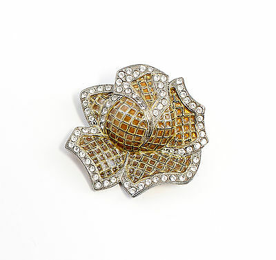 Silver 925 enamelled Brooch with Swarovski Stones floral design a1-01554