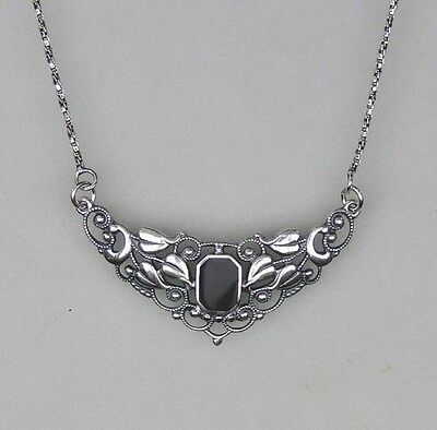 Silver 925 fllorales Necklace with Onyx NEW a1-01080